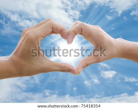 two hand make heart sign