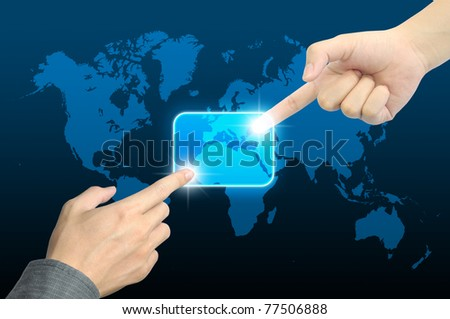 two hand pushing a button on a touch screen interface