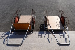 Two handcart on the staircase.