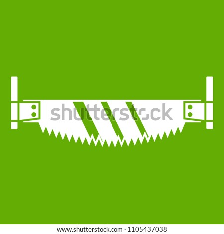 Two handled saw icon white isolated on green background. illustration