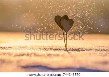Two handmade hearts and snow nature. Valentine background photo #744343570