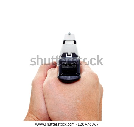 two hands aiming a handgun on white background