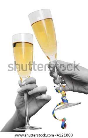 Two hands and champagne glasses raised in cheers - stock photo
