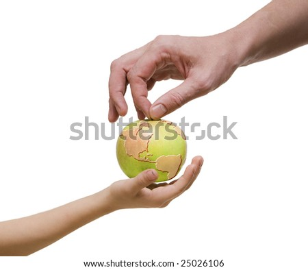 Two hands and world drawn on green apple