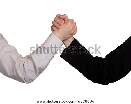 Two hands, arm wrestling, isolated on white background
