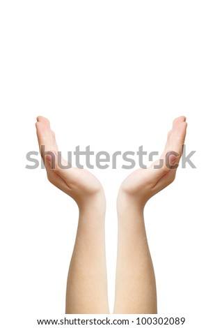 Two hands as symbol of care, raising up, isolated on white, clipping path