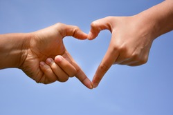 two hands can made my heart in Love/Love is we together/Half of us together in love