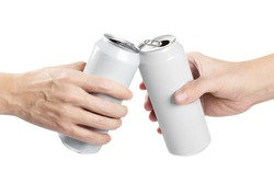 Two hands clinking white aluminium beer cans, isolated on white background