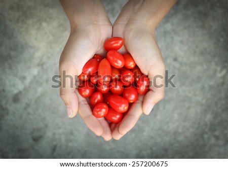 Two Hands Full of Tomatoes