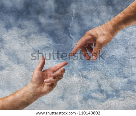 Two hands God and Adam reaching old painting style background