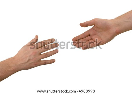 Two hands (help), isolated on white background - stock photo