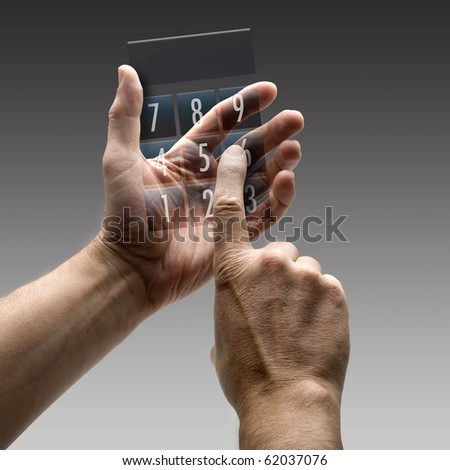 Two hands holding a calculator. There is a route for hand and finger.