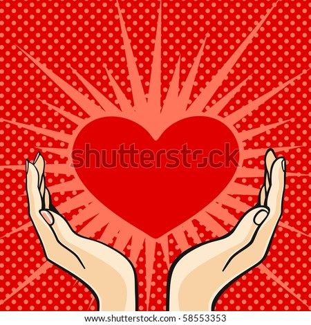 stock photo : Two hands holding a heart (raster version)