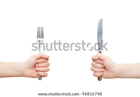 two hands holding fork and knife, clipping path