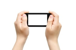 Two hands holding smart phone, playing games, clipping path