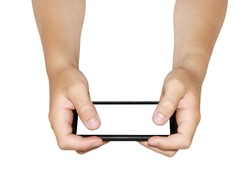 Two hands holding smartphone, reverse view,  isolated
