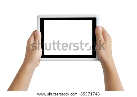 Two hands holding tablet PC, playing games, clipping path