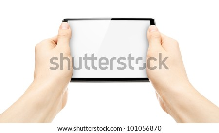 Two hands holding tablet with screen as copy space.