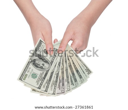 Two hands holding US dollar bills isolated on white