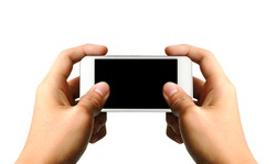 Two hands holding white smart phone, playing games, clipping path