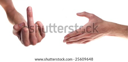 two hands isolated on white concept for negotiation and misunderstanding