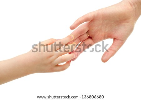 two hands of child and mother isolated on a white background