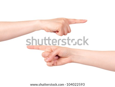 Two hands pointing with index finger on white background