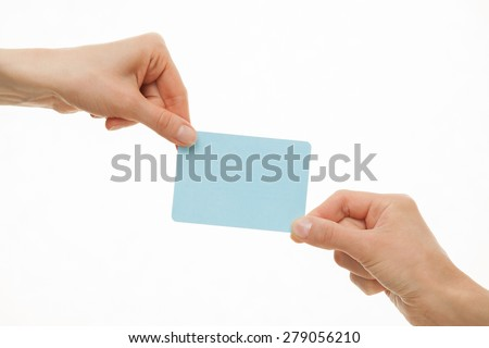 Two hands pull in different directions a blue paper card, white background