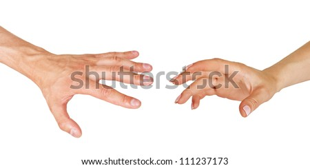 Two hands reach forward, male and female