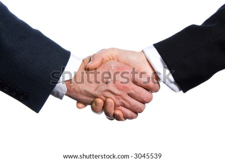 two hands shaking on a white background