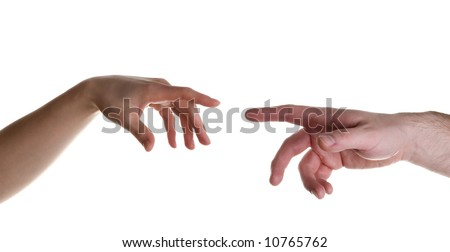 two hands stylized for michelangelo's creation mural