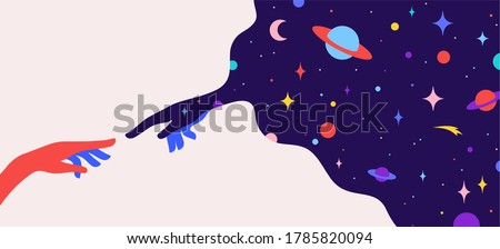 Two hands. The Creation of Adam. Design concept sign Creation of Adam. Silhouette hands of man and god, universe starry night dream background. Colorful contemporary art style. Illustration Stock photo ©