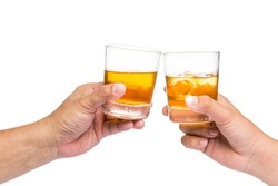Two hands toasting whiskey on the rock, with isolated background