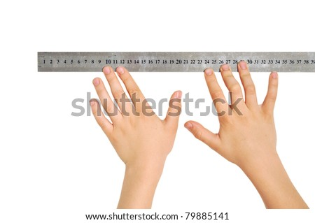 Two hands with a ruler, isolated