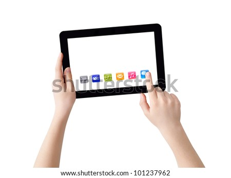 Two hands with Tablet PC, finger pointing abstract application, isolated on white, clipping path