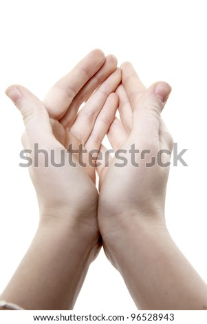 Two hands with the combined palms last forward