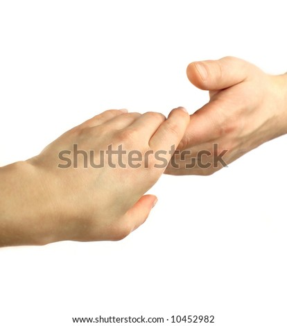 Two hands - woman and man touch each other