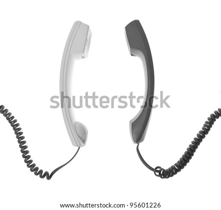 two handsets are talking