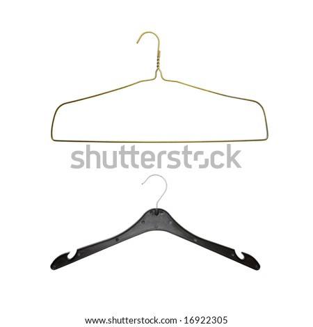 two hangers isolated on white