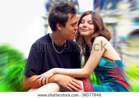 Two happiness love young people on blur historical background