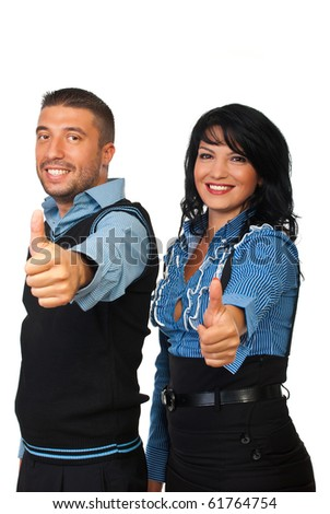 Two happy business people smiling and giving thumbs up isolated on white background