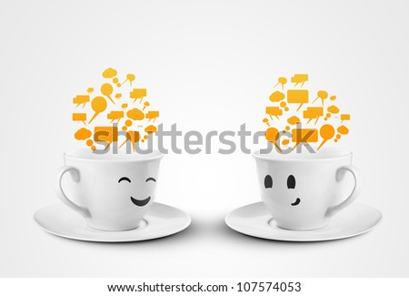 two happy cups smileys with speech bubbles
