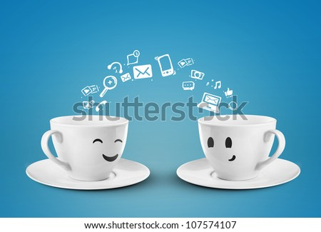 two happy cups, social media icons #107574107