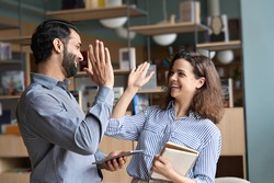 Two happy friendly diverse professionals, teacher and student giving high five standing in office celebrating success, good cooperation result, partnership teamwork and team motivation in office work.