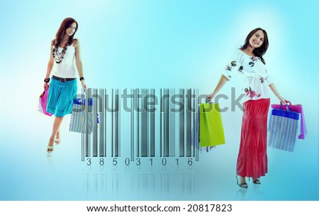 Two happy girls stand beside bar code