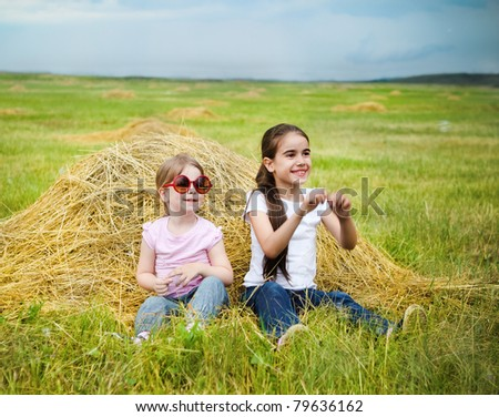 Two happy little sisters having fun in the summer day in field