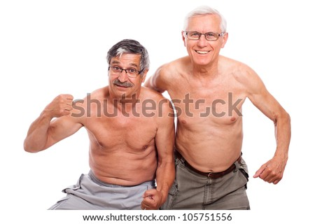 Two happy naked senior men showing body isolated on white background.