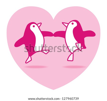 Two Happy Pink Penguins Dancing in a Pink Heart on White Background - Raster
