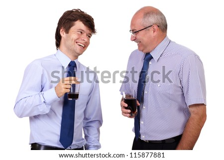 Two happy smiling businessmen in blue shirts with glasses, isolated on white background