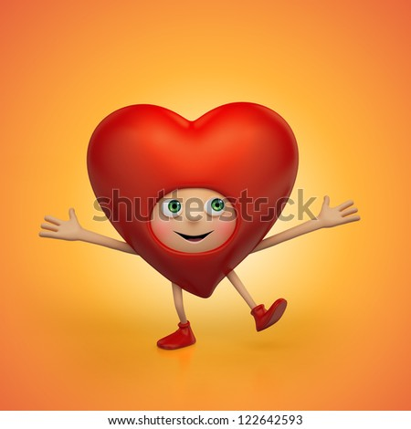 two Happy Valentine hearts holding message banner